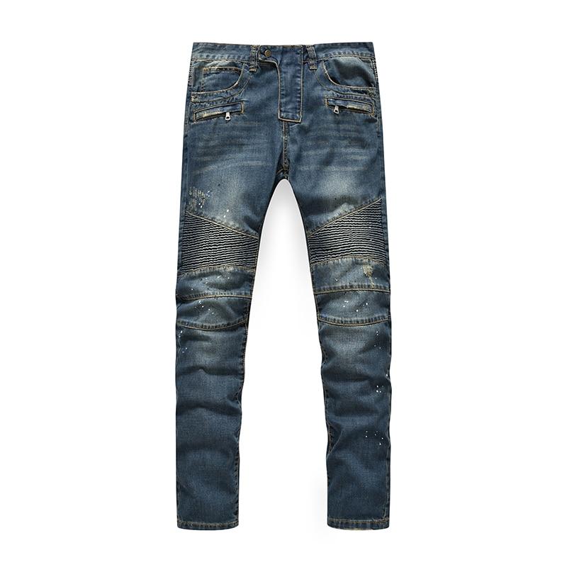 High quality Biker jeans fashion men denim straight jeans slim washed jeans men hot popular men