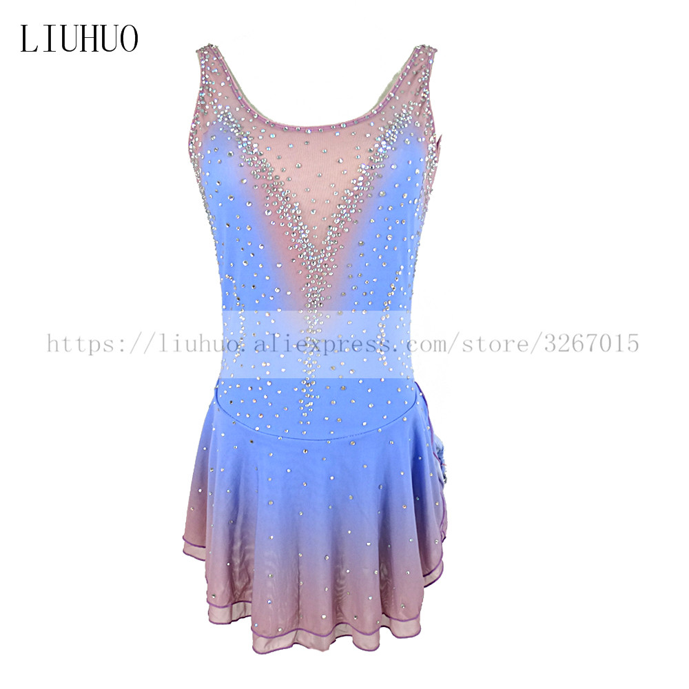 Figure Skating Dress Women s Girls Ice Skating Competition Dress Sleeveless Blue gray gradient color Backless