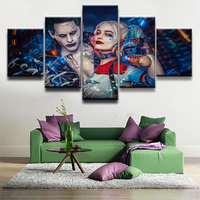 5 Panels Movie Suicide Squad Harley Quinn Joker Modern Home Wall Decor Canvas Picture Art Print