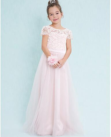2017 CUSTOM MADE Girls Lace Dress A-Line Scoop Neck Floor Length Lace Tulle Junior Bridesmaid цена 2017