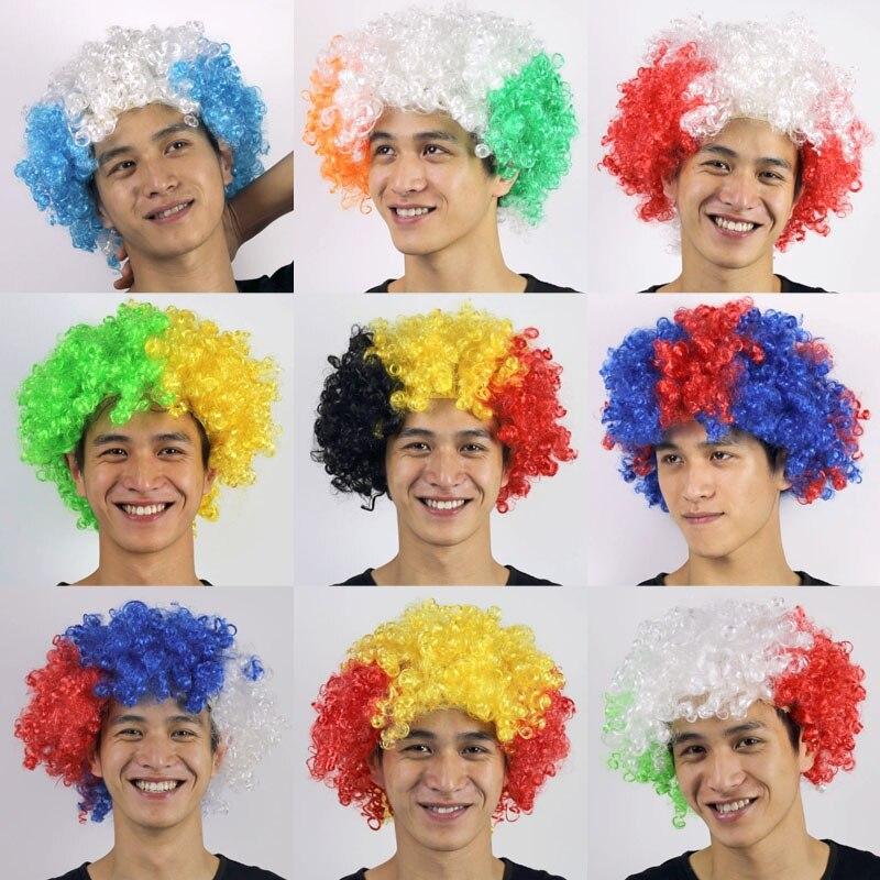 Fiducioso Nuovo Coppa Del Mondo Parrucca Wild-curl Up Celebrazioni Di Festival Copertura Della Testa Parrucca Testa Di Usura Parrucchino Parrucchino