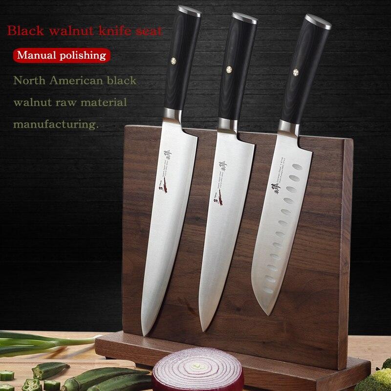 Północna amerykański czarny orzech stojak na noże twarzy, dekoltu i szyi magnetyczny ssania kuchnia, aby umieścić duża pojemność nóż półki w Sakwy i torby na kółkach od Dom i ogród na AliExpress - 11.11_Double 11Singles' Day 1