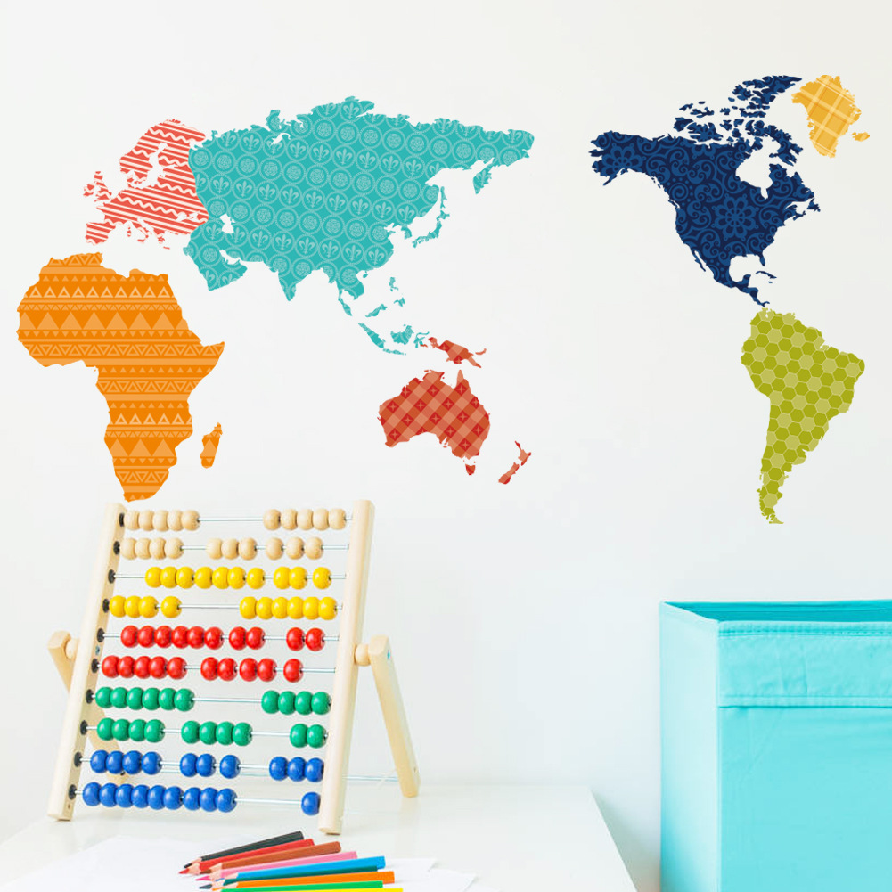 New Product Colorful World Map Wall Stickers Self Adhesive Removable - Colorful world map painting