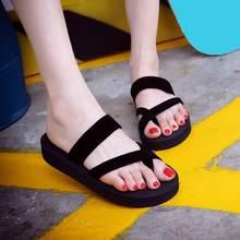 138cf35998cb6c New Solid Black Shoes Sandal Flip Flops Women Wedge Sandals Platform Beach  Slippers Zapatillas Chinelo Sandalia