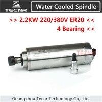 Высокая скорость 2.2KW с водяным охлаждением двигателя шпинделя 220 В 380 В с 4 шт. подшипник для дерева ЧПУ