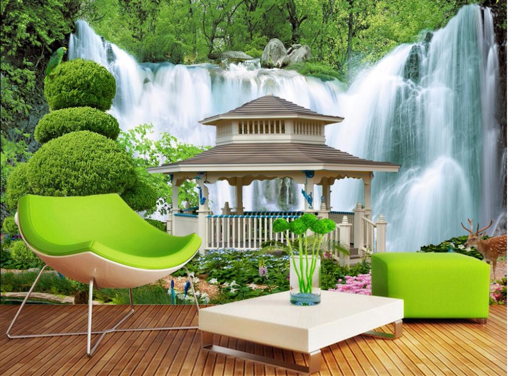 Custom Photo Wallpaper Pavilion Waterfall Home Decoration Painting Wall Murals For Living Room Walls 3 D