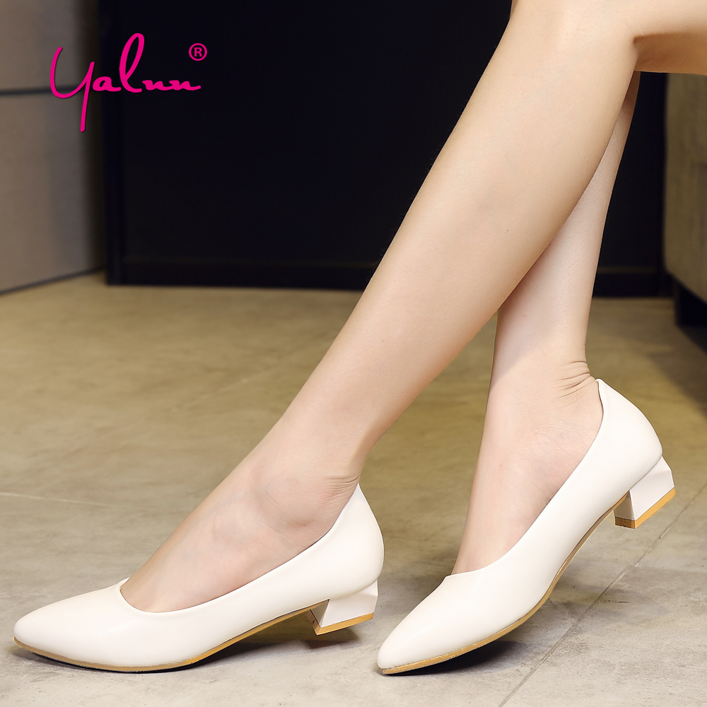 Square Heel Pumps Women Shoes Spring Autnmn Office Ladies Shoes with Heels 5cm Black and White Womens Heels Pumps Leather New