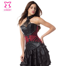 Corzzet Red Leather Armor Halter Steampunk Corset Waist Slimming Plus Size Gothic Overbust Corsets And Bustiers