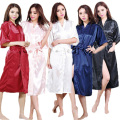 Ladies Satin Robe Dressing Gown Nightwear Kimono Lingerie Silk Vintage Chinese Women Traditional Gown Nightgown Plus Size S-XXXL