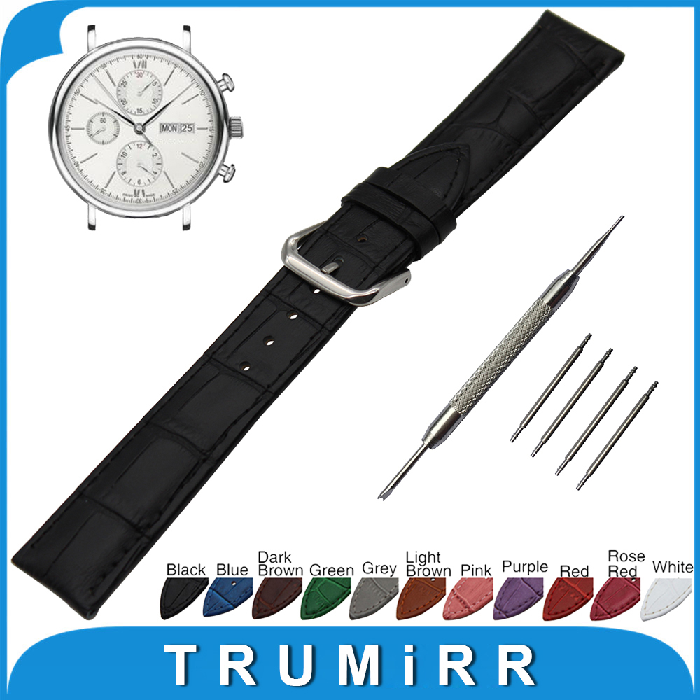 19mm 20mm 21mm 22mm Croco Genuine Leather Watchband for IWC Watch Stainless Steel Buckle Strap Band Wrist Belt Bracelet + Tool top layer cowhide genuine leather watchband for swatch men women watch band wrist strap replacement belt bracelet 17mm 19mm 20mm