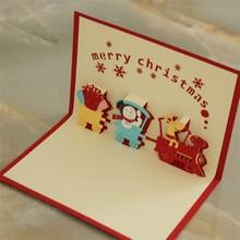 цена на 6 pcs Red Christmas Train 3D laser cut pop up paper handmade postcards custom wholesale greeting cards Xmas gifts 10*15cm
