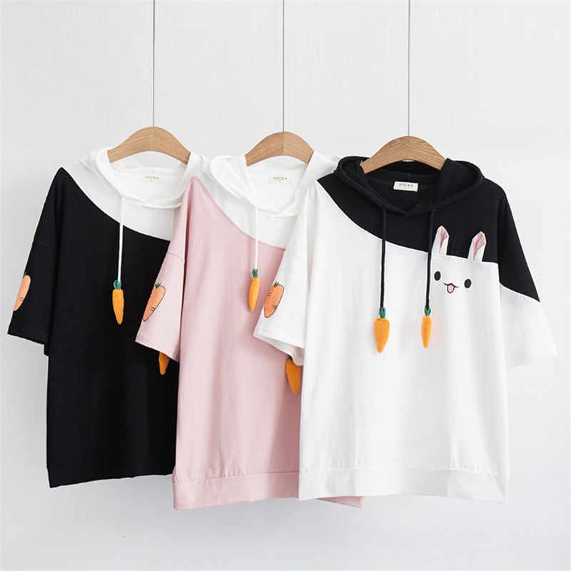 H. SA 2018 Новая женская летняя футболка Топы с капюшоном вышивка футболка из чистого хлопка весна лето рубашки Befree Лоскутные укороченные топы