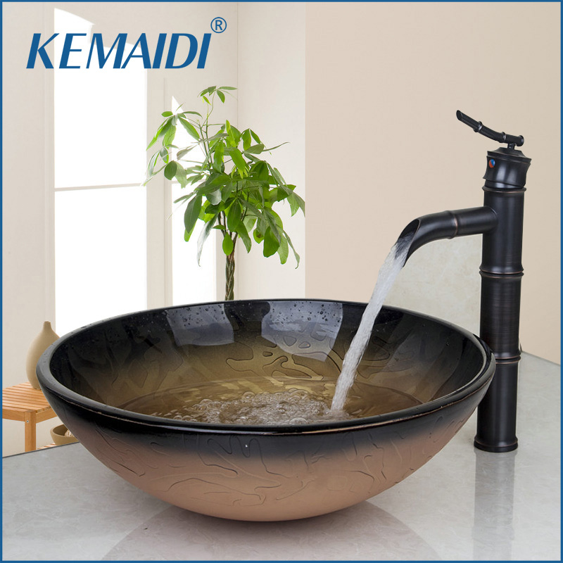 US Antique en laiton chaud et froid eau Combo ensemble robinets ronds navire Drain salle de bains évier robinet comptoir mélangeur vanité flux bec