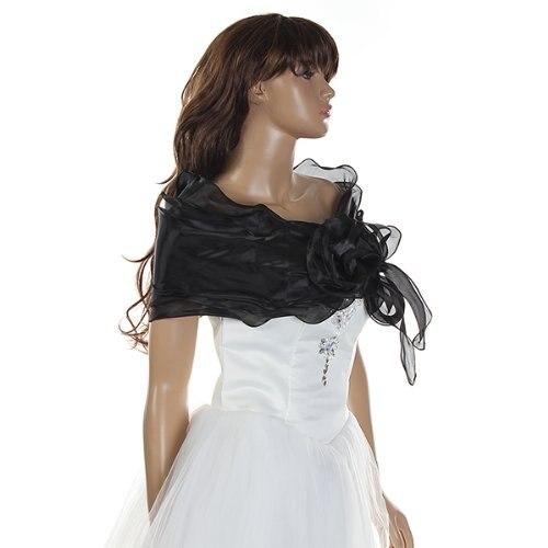mejor selección 59d13 e63de US $3.69 15% OFF|HOT Chal Estola Bolero Organza Vestido Boda Fiesta Encaje  Negro para Mujer-in Women's Scarves from Apparel Accessories on ...
