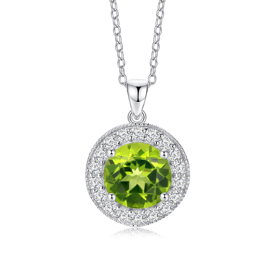 PJC Natural Gemstone Round Shape Peridot And Zircon 925 Stling Silver Pendant With Chain