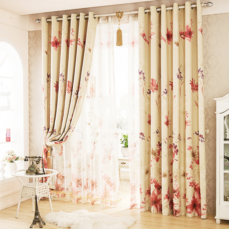 Pastoral Brief Style Colorful Red Flowers Printed Curtain Polyester Blockout Cloth Curtain For Living Room Bedroom