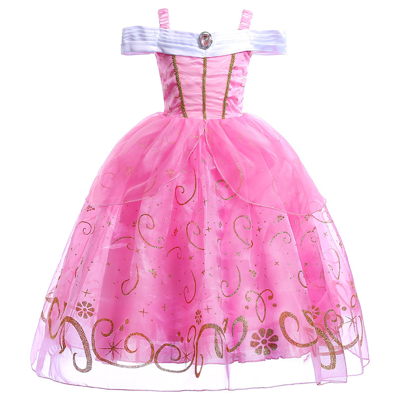 Ruched Design Aurora Princess Tutu Dress Kids Girl Cartoon Children Cosplay Party Birthday Dress Cloth Baby Photo Props 10Years