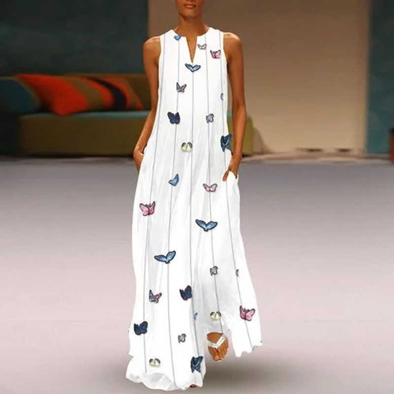 5e88f93cab317 CALOFE Sexy V Neck Women Vintage Butterfly Print Dress 2019 Summer ...