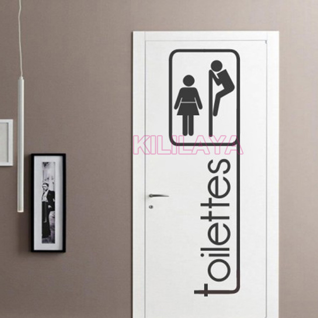 Funny Voyeur French Toilettes Stickers For Toilet Wc Door