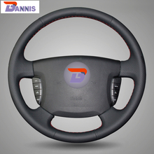 BANNIS Black Artificial Leather DIY Hand-stitched Steering Wheel Cover for Ssangyong Actyon Kyron