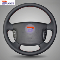 Black Artificial Leather DIY Hand Stitched Steering Wheel Cover For Ssangyong Actyon Kyron