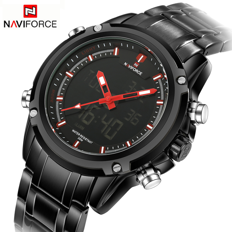 Top Luxury Brand NAVIFORCE Men Waterproof LED Sports Military Watches Men's Quartz Analog Digital Wrist Watch relogio masculino mens watches top brand luxury men military watches led digital analog quartz watch sports wrist watch waterproof relogio clock