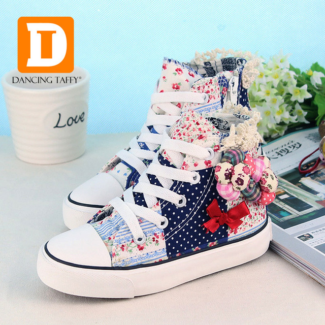 Canvas Pink Flowers Girls Shoes 2017 Spring Brand Girls Sneakers Bowtie School Shoes For Children Rubber Flat High Girl Footwear