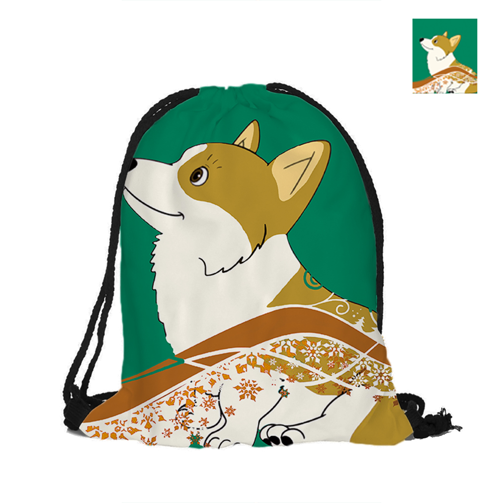 Cute Corgi Dog Printed Drawstring Backpack Double Sided Printing Polyester Pouch Backpacks For Travel And School