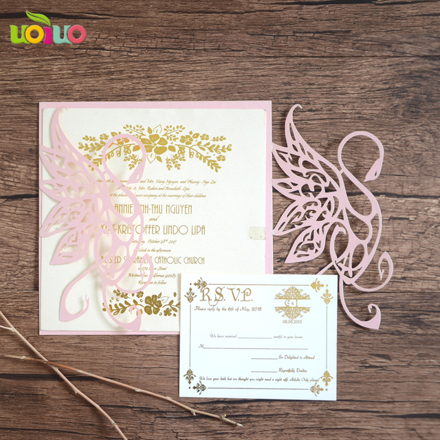 unique pink laser cutting swan shape folded invitation card wedding