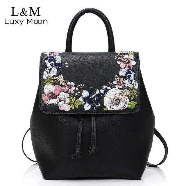... Mujeres floral mochila negro flores Bordado mochilas pu cuero cordón  adolescentes Niñas Mochilas y bolsas para  Encantadora oreja de ... 36eb169569f73