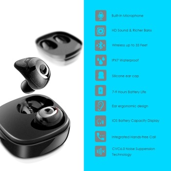 Waterproof TWS ture wireless earbuds bluetooth 5.0 wireless headphones Bluetooth earphone 5.0 TWS headset with charging box/case