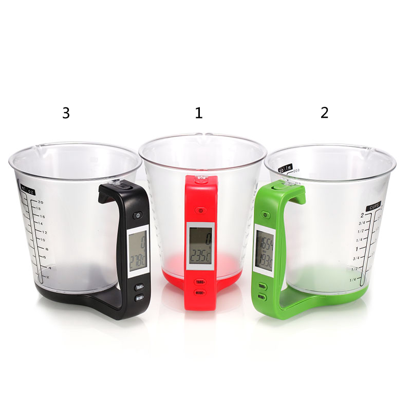All In One Digital Measuring Cup Sugar Coffee Transparent Mug Scale Weight Temperature Kitchen Tools With LCD Display Cup