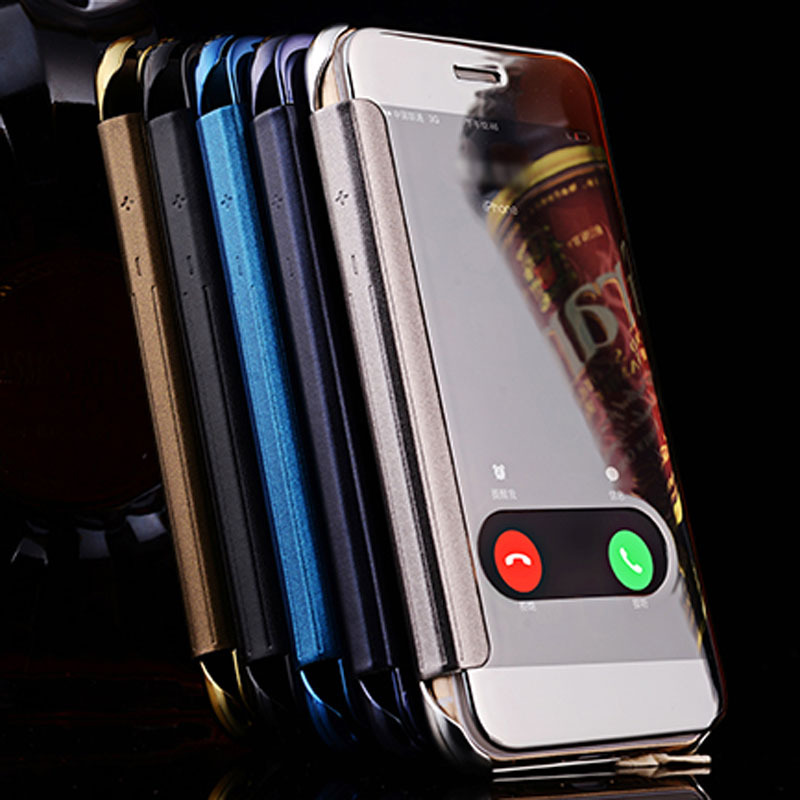 Slide Answer PC PU Leather Case For IPhone 6 S 6S 47 Inch Phone Outlet UV Mirror Front View Flip Cover Hard Protector On Aliexpress