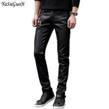 New 2018 moto style fashion fake zipper desgin slim fit faux leather pants men skinny trousers men's fitness clothing PK5