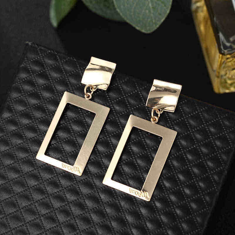 Hot Selling Geometric Earrings Hollow Square Drop Earrings  For Women Girl Summer Golden Silver Color Fashion Jewelry