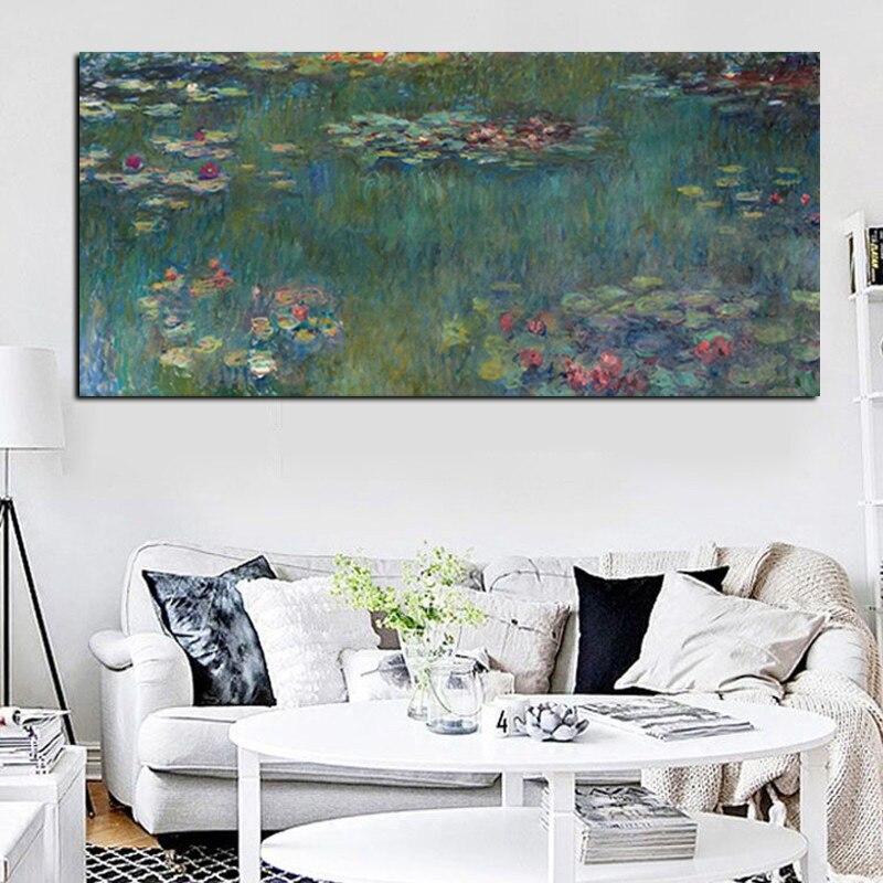 Výprodej Monet Oil Painting Lotus Tisk na plátno Unframed Impressionist Wall Umělecká reprodukce na plátně Obraz Plakát Sofa Cuadros Decor
