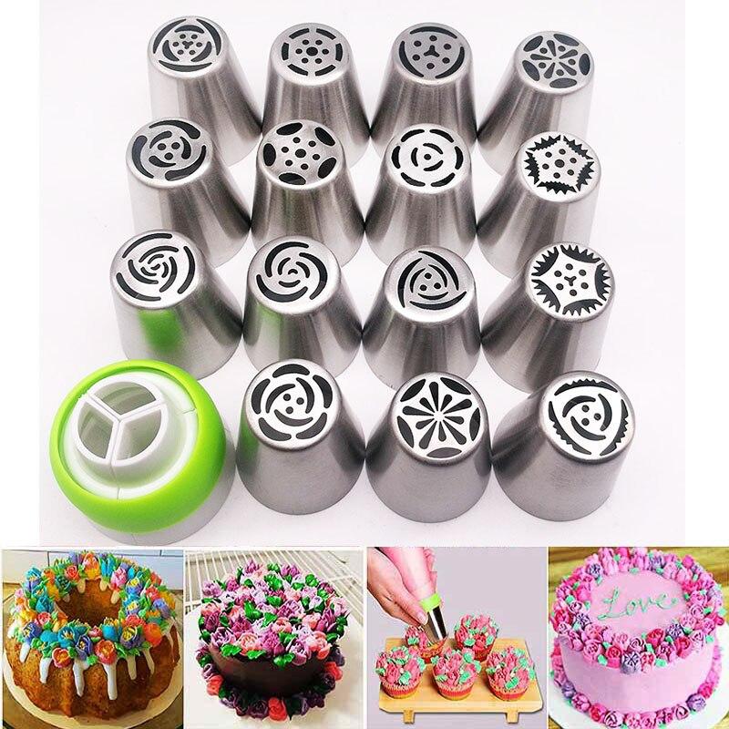 16 stks Russische Piping Tips Cake Nozzles Icing Tips Spuitzak Voor Cake Cupcake Decoreren Leveringen Piping Tips Russische Tips set
