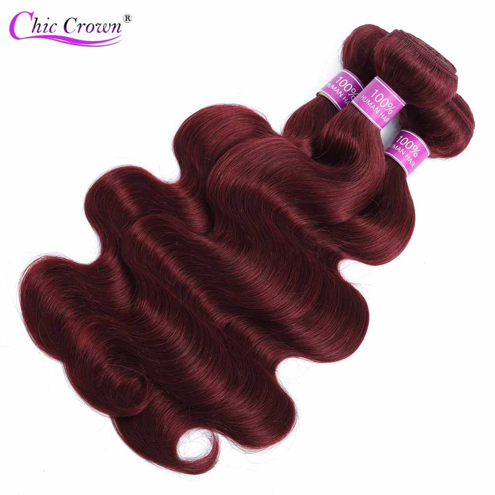 Бразильские волосы темно-красная объемная волна Комплект s 100% человеческие волосы 10-26 дюймов волос BodyWave предварительно цветной 99j 1/3 Комплект предложения пучки волос плетение