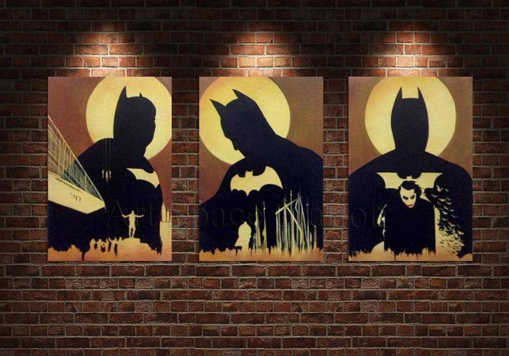 No Frame The Dark Knight Oil Painting Abstract Batman Movie Pictures