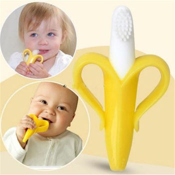Baby Silicone Training Toothbrush BPA Free Banana Shape Safe Toddle Teether Chew Toys Teething Ring Gift Infant Baby Chewing 1