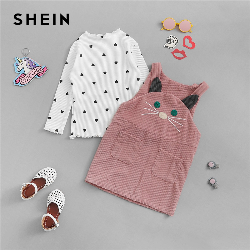 SHEIN Kiddie White Toddler Girls Rib Knit Trim Tee With Pinafore Dress Korean Style Clothing Set 2019 Long Sleeve Kids Sets