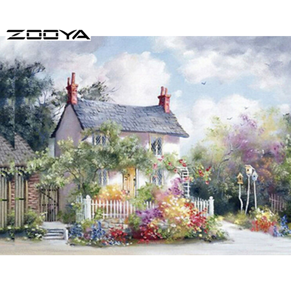 ZOOYA 3D Diamond Embroidery Round Diamond Landscape Diamond Painting Cottage Rhinestones Embroidery Diamond Cross Stitch RF675