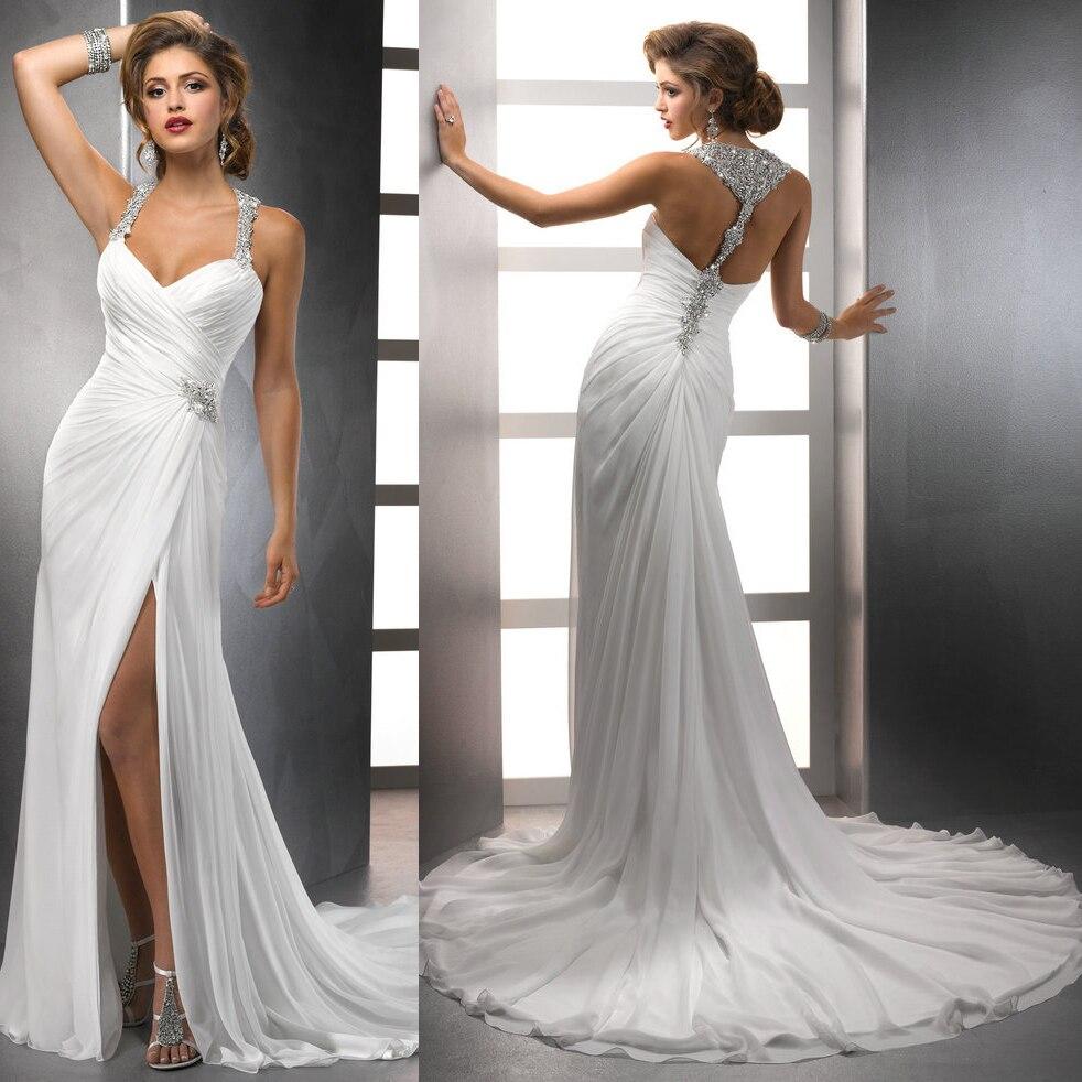 2016 new design wholesale chiffon flowing beach halter neck slit side 2016 sexy backless wedding dresses
