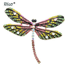 RHao Mode Colorful Berlian Imitasi Bros Capung Terbang Serangga Dragonfly pin bros Korsase Wanita mantel kemeja perhiasan bros(China)