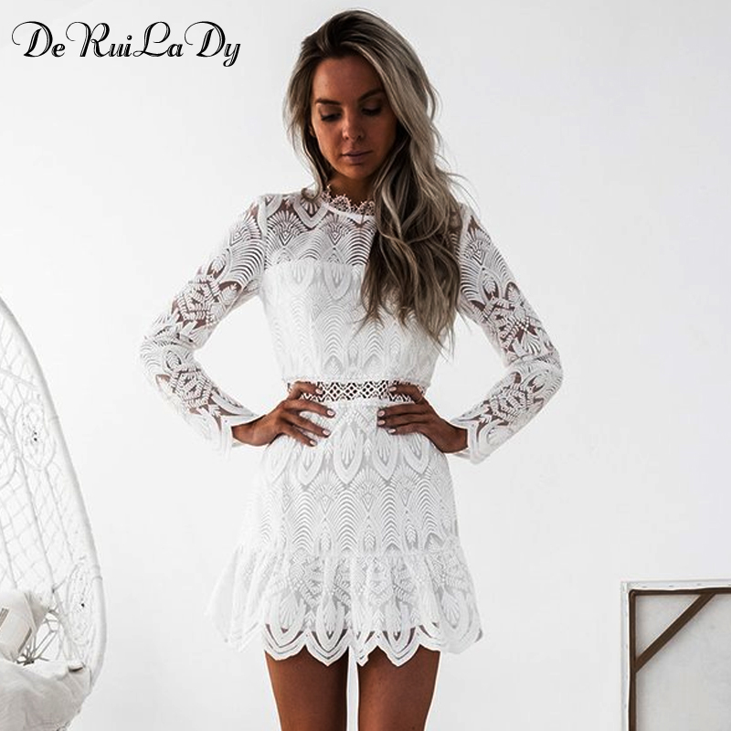 DeRuiLaDy 2018 Women Sexy Hollow Out Black White Lace Dress Female Party Casual Long Sleeve Mini Bodycon Dresses Spring Vestidos