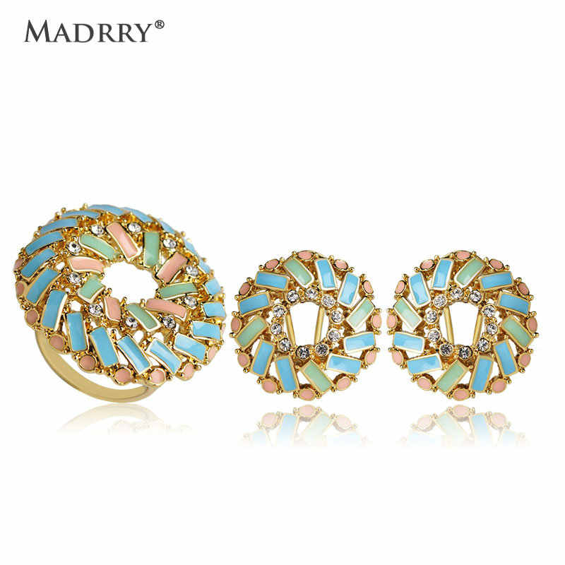 Madrry Dubai Jewelry Sets Earrings&Ring for Women Lady Decoration Bijoux Gold Color Crystal Enamel Boucle d'oreille Anel Schmuck