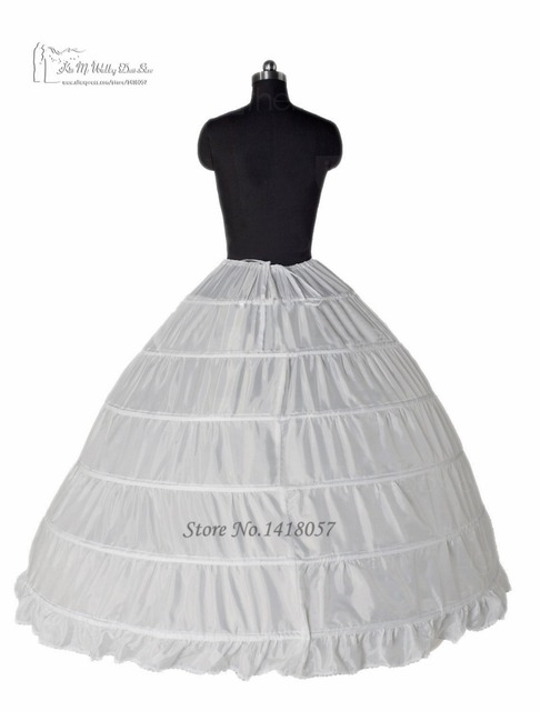 Ball Gown 6 Hoop Petticoats Underskirt Full Crinoline For Bridal Wedding Dress Accessories Free Shipping