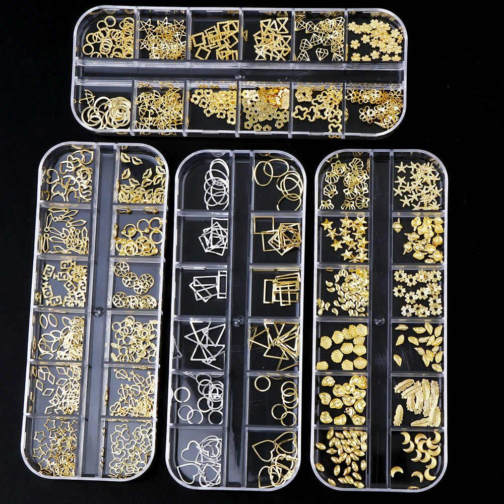مانيكير 12 الهندسة مجوهرات برشام معدني حجر الراين ستار القمر الماس قذيفة الجوف دائرة الذهب للأشعة فوق البنفسجية الراتنج الايبوكسي قالب ديكو