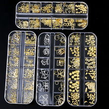Manicure 12 Geometry Jewelry Metal Rivet Rhinestone Star Moon Diamond Shell  Hollow Circle Gold For UV Resin Epoxy Mold Deco
