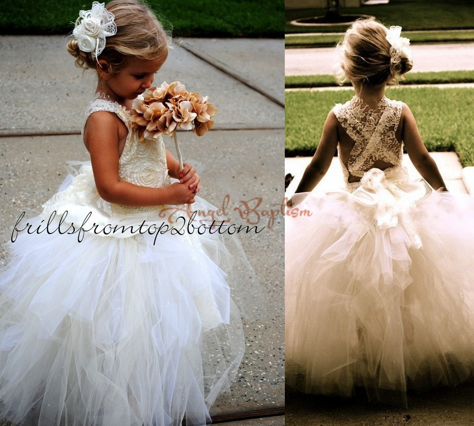 Puffy ball gown tulle sleeveless Sheer Lace White/Ivory kids first communion dresses criss cross back Tutu Flower Girl Dress criss cross lace panel long sleeve dress